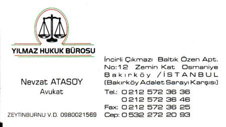 Av. Nevzat ATASOY Bakırköy Adalet Sarayı Karşısı