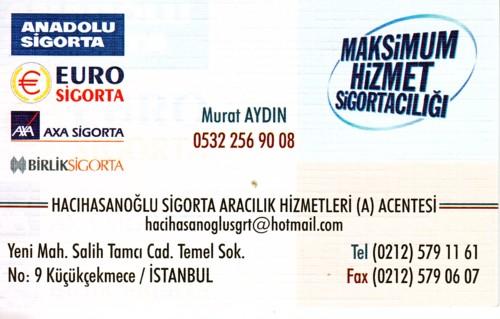 Murat Aydın Sigorta Poliçenizi yapar 0532.2569008