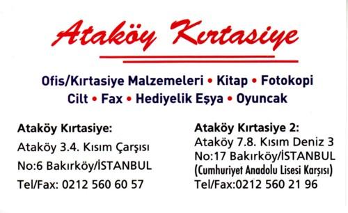 Ataköy Kırtasiye 4.kısım ve 8.kısımda Bakırköy