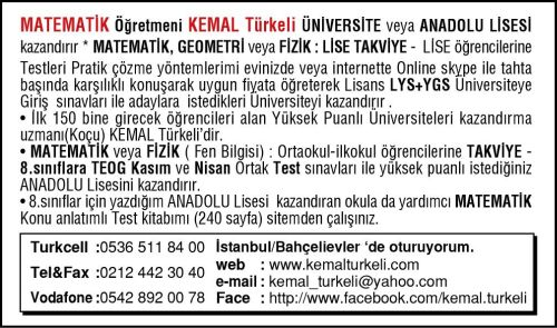 Kemal Hoca Online Matematik Geometri Fizik Öğretir